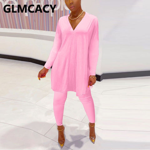 Women Two Piece Tracksuits Long Sleeve V-neck T-shirt & High Waist Skiny Pants Chic Lounge Suits