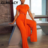 Women Chic Two Piece Suits Solid Casual Short Sleeve Shirt and Wide Leg Pants Set