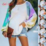 Autumn Long Sleeve T Shirt Women One Collar Loose Print Tie Dye Shirt Oversize Winter Vintage Top Plus Size Casual Tshirt Women