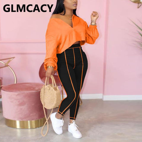 Women Two Piece Streetwear Suits Long Sleeve V Neck Sweatshirt and Fitness Pants Set