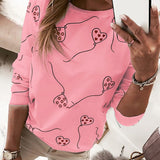 Long Sleeve Heart Cotton Women T Shirt 2020 Autumn Casual Oversized Striped Tee Top Streetwear Fashion Lady Loose Tops Plus Size