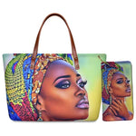 FORUDESIGNS African American Girls Printed Tote Bags for Women Casual Ladies Shoulder Handbags Female Top-handle Bag with Wallet