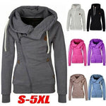 Plus Size S-5XL Sweatshirt Women Autumn Winter Hoodies Turn-down Collar Hooded Pullover Side Zipper Jacket Coats Sweatshirts