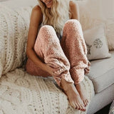 Plus Size Fluffy Plush Long Pants Winter Women's Soft Plush Flannel Pajama Sleep Bottoms Night Wear Solid Color Thicker Trouser