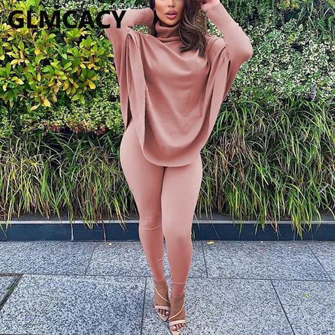 Women Two Piece Classy Suits Batwing Sleeve Turtleneck Top & Skinny Pants Set