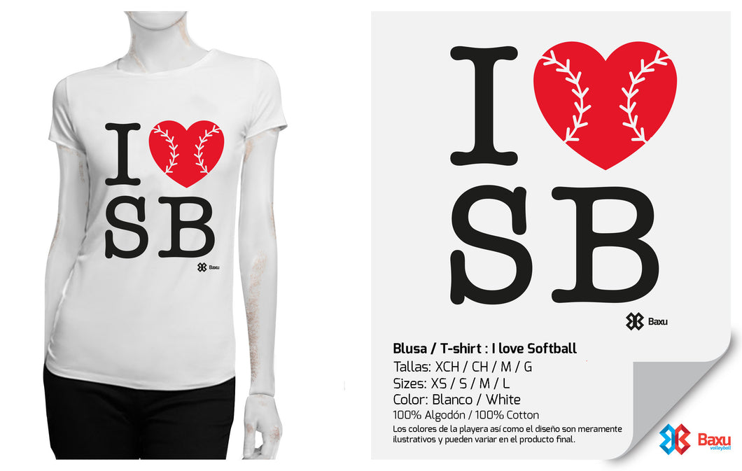Blusa I love Softball / Blanca