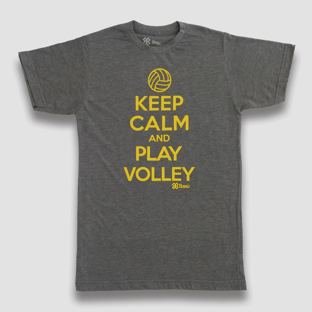 Playera Voleibol Unisex - Keep Calm and Play Volley - Gris Obscuro
