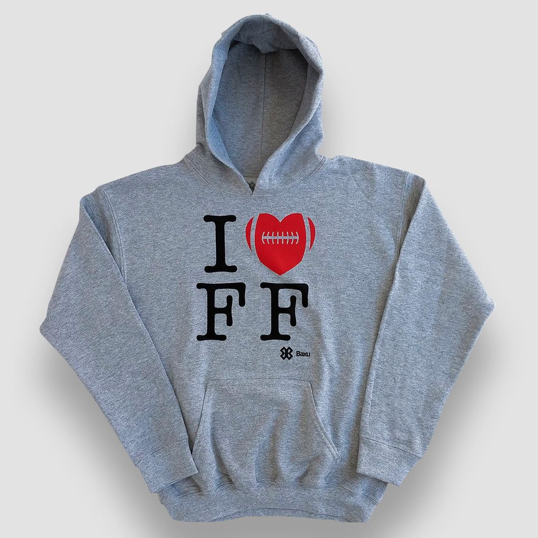 Sudadera Unisex Tochito - I Love Flag Football - Gris Jaspe