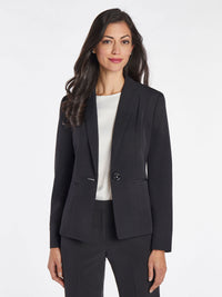 Crepe One-Button Blazer – Black – Kasper