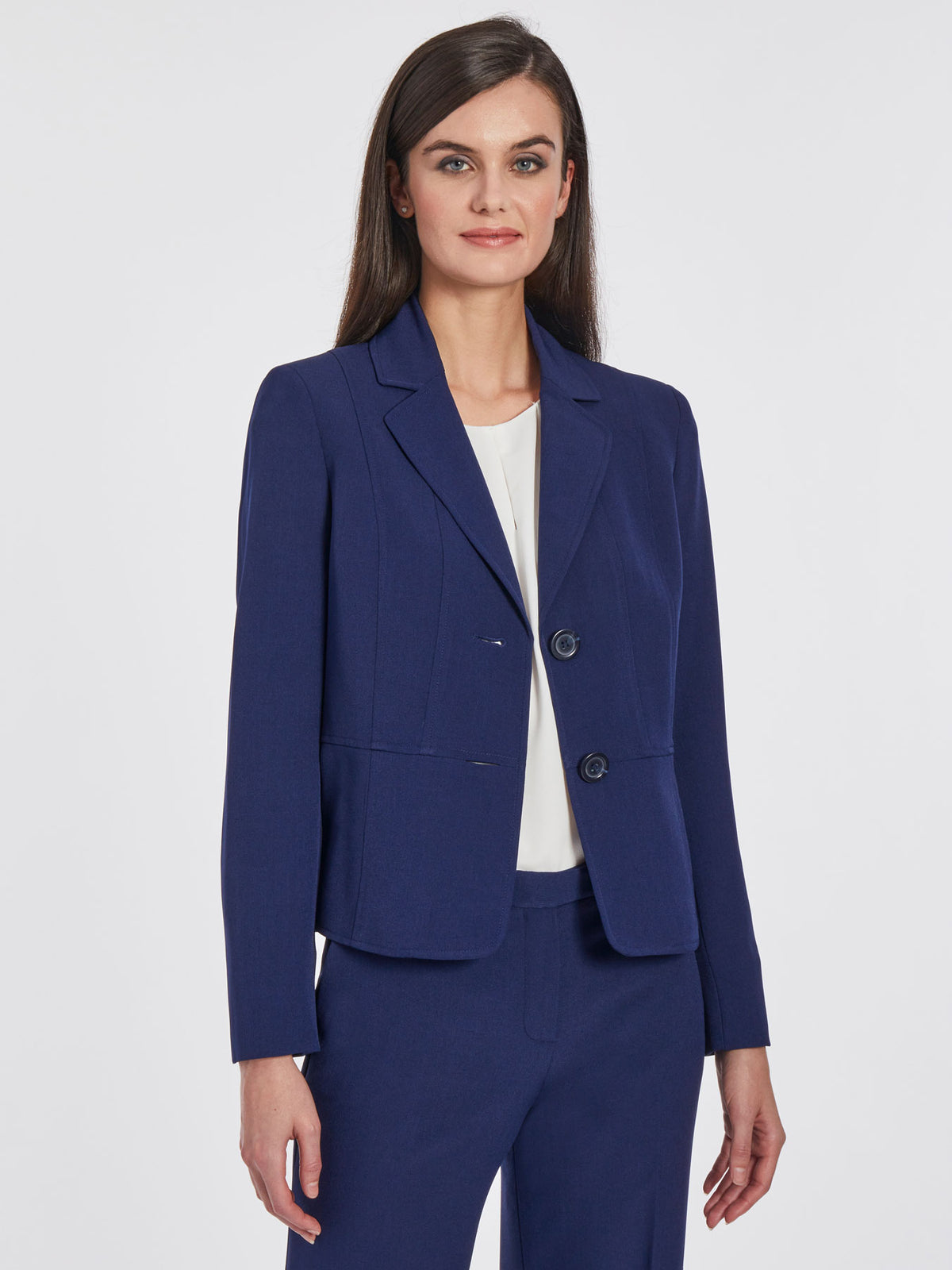 Crepe Two-Button Blazer – Indigo – Kasper