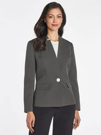 Dot Print One-Button Blazer – Black/White – Kasper
