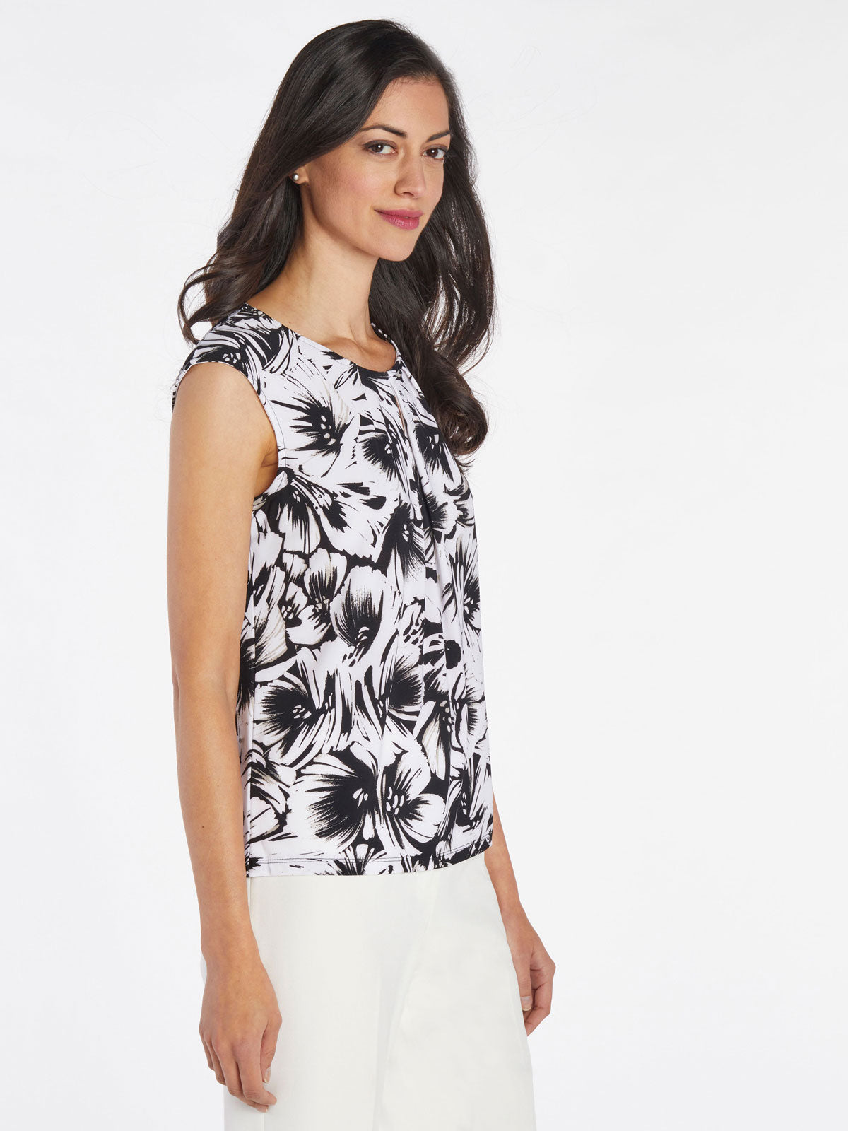 Abstract Floral Jersey Top – Black Multi – Kasper