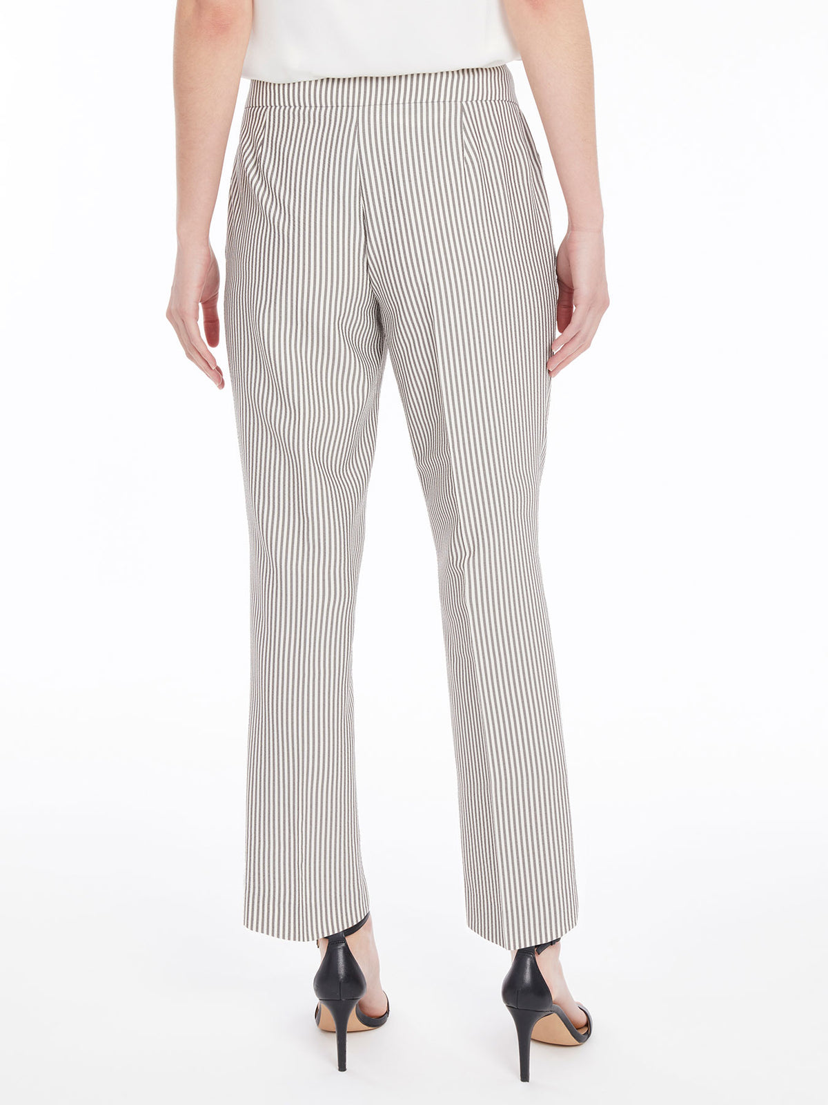 Seersucker Stripe Slim Leg Pant – Grey/White – Kasper