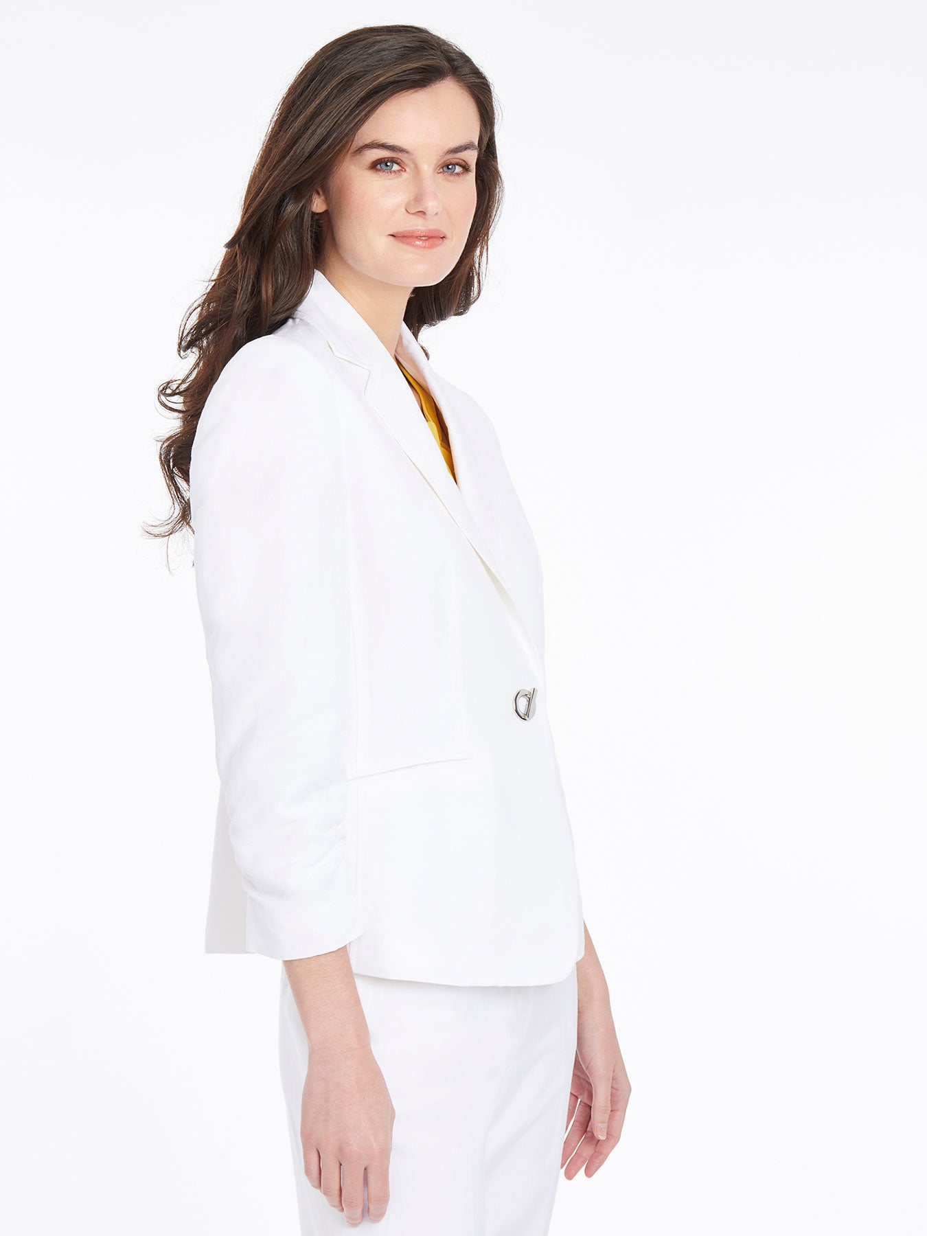 Ruched Sleeve One-Button Blazer – Lily White – Kasper
