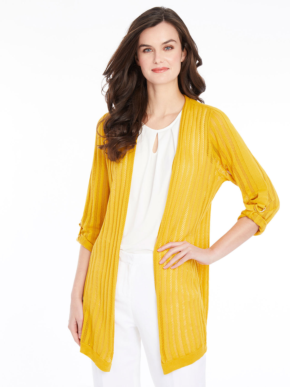 Open Knit Roll Tab Sleeve Cardigan – Butterscotch – Kasper