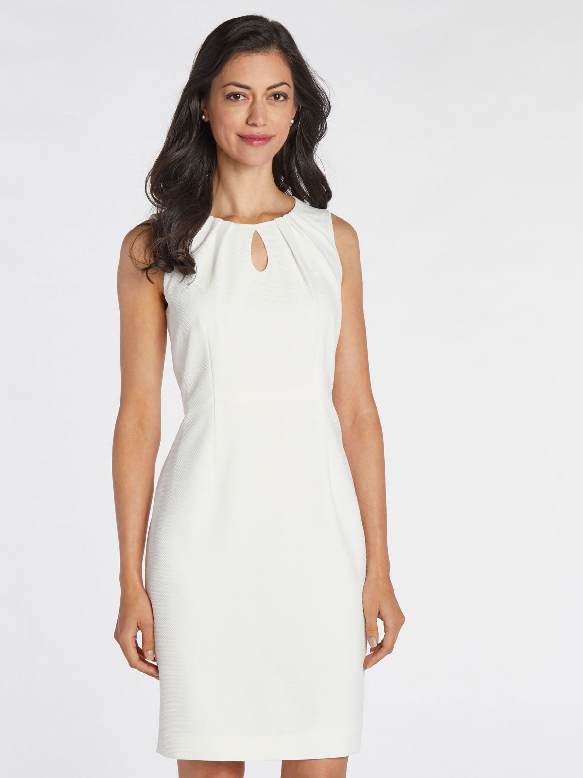 Keyhole Pleat Neck Sheath Dress – Lily White – Kasper