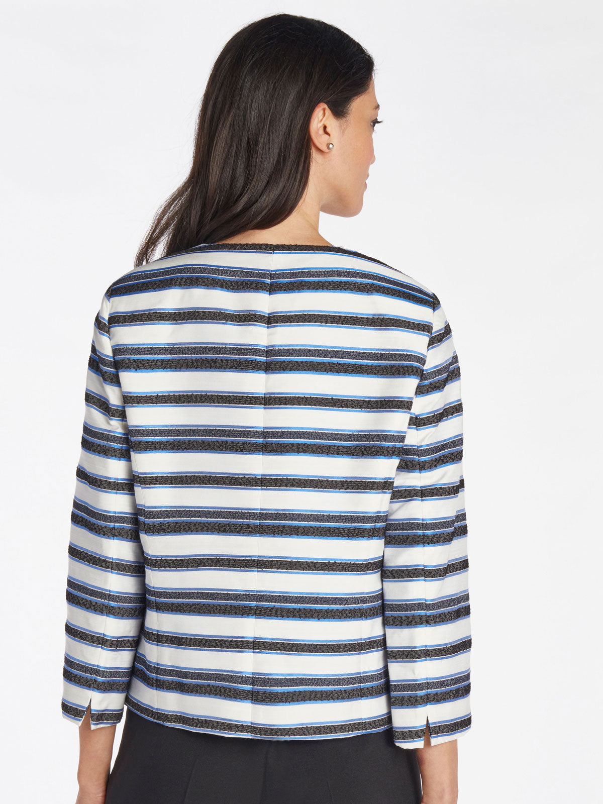 Textured Stripe Jewel Neck Jacket – Mariner Blue Multi – Kasper