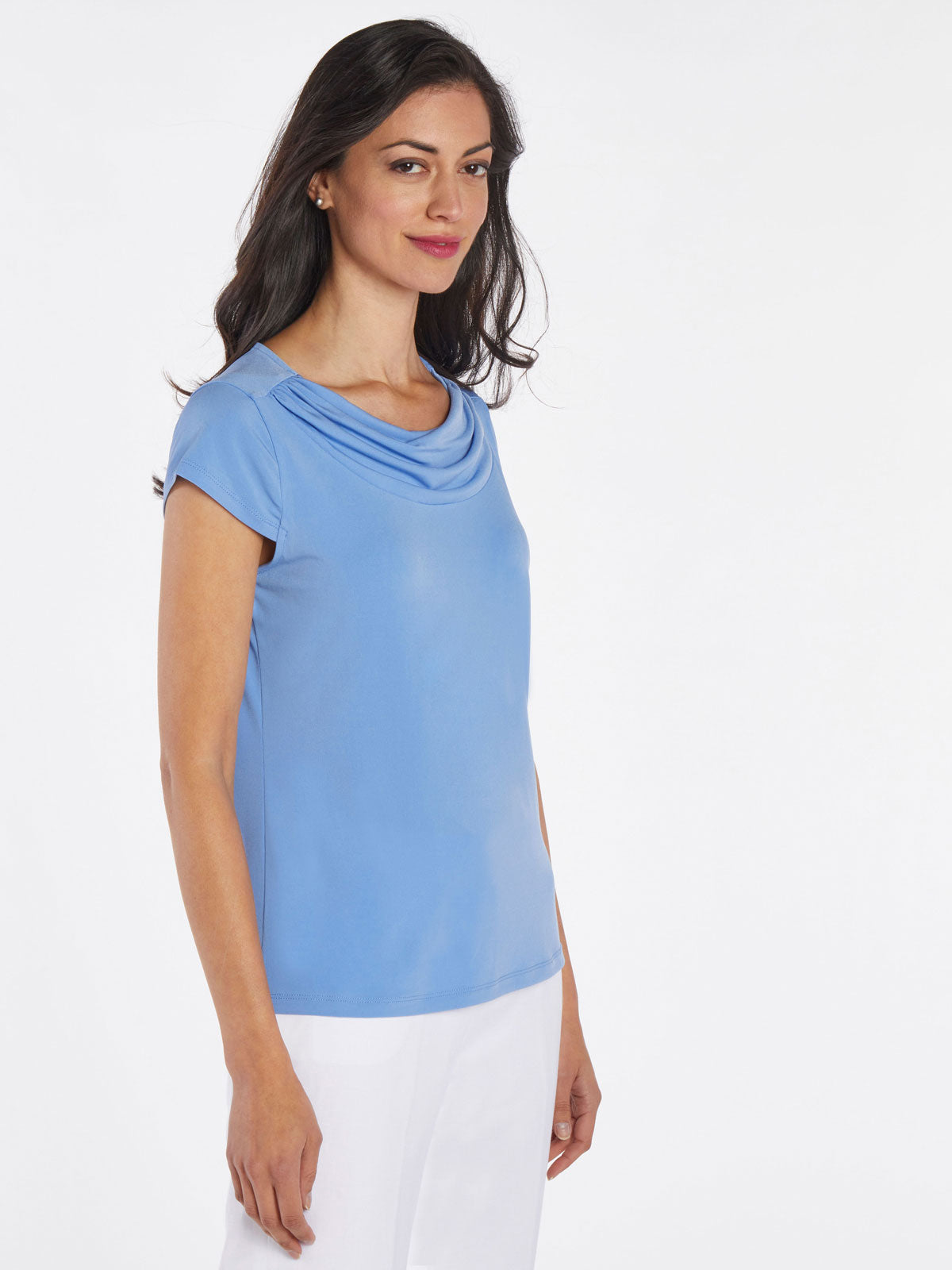 Draped Cowl Neck Knit Top – Wedgewood – Kasper