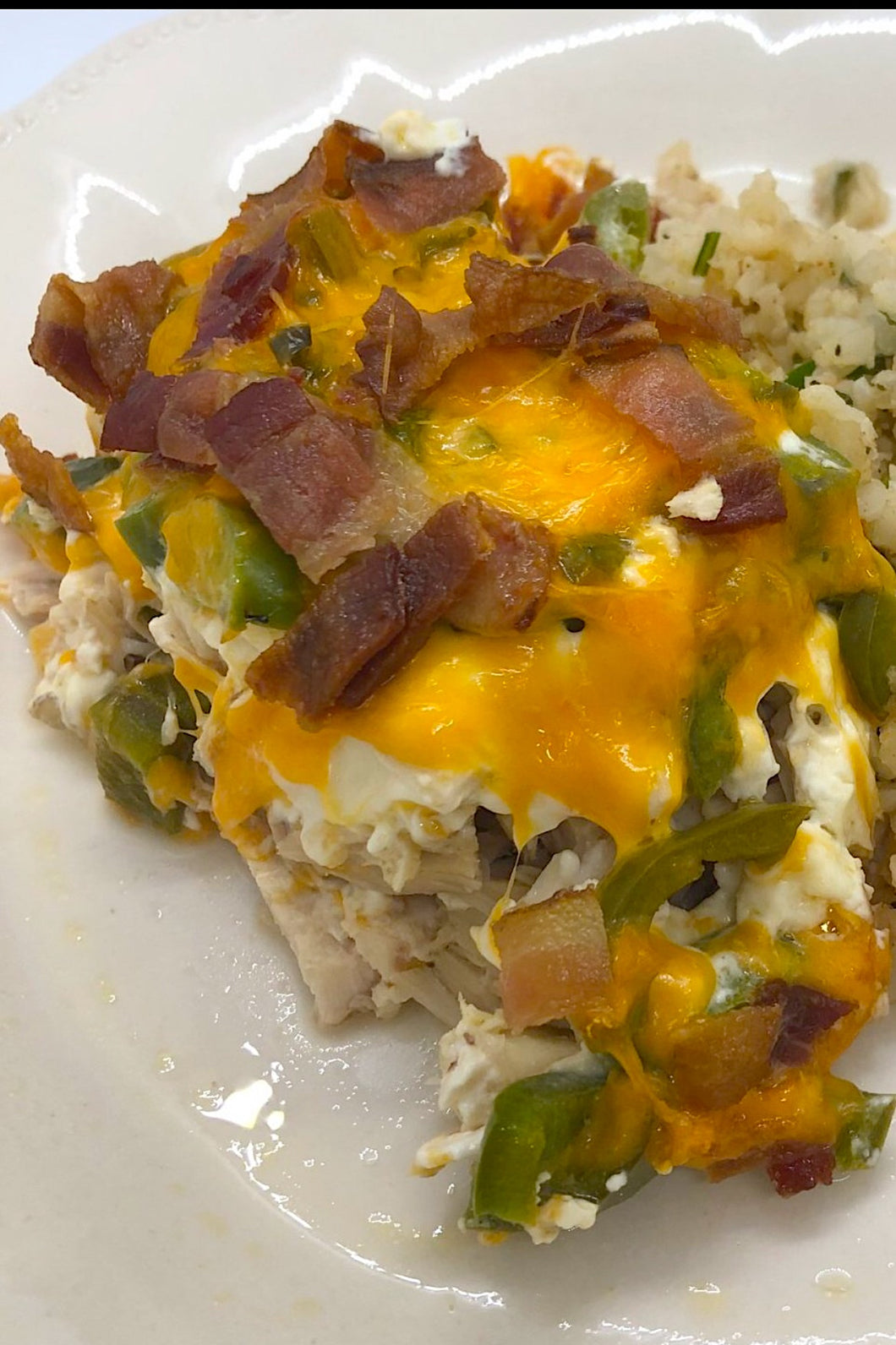 Jalapeno Popper Casserole with Cauliflower Rice