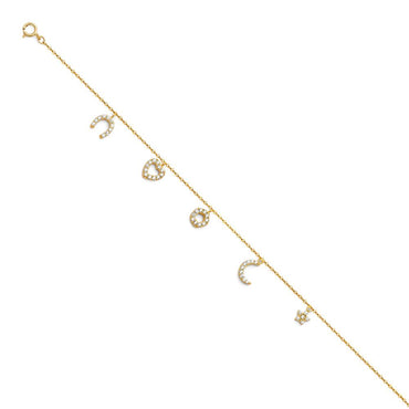 14KY LIGHT CZ CHAIN BRACELET