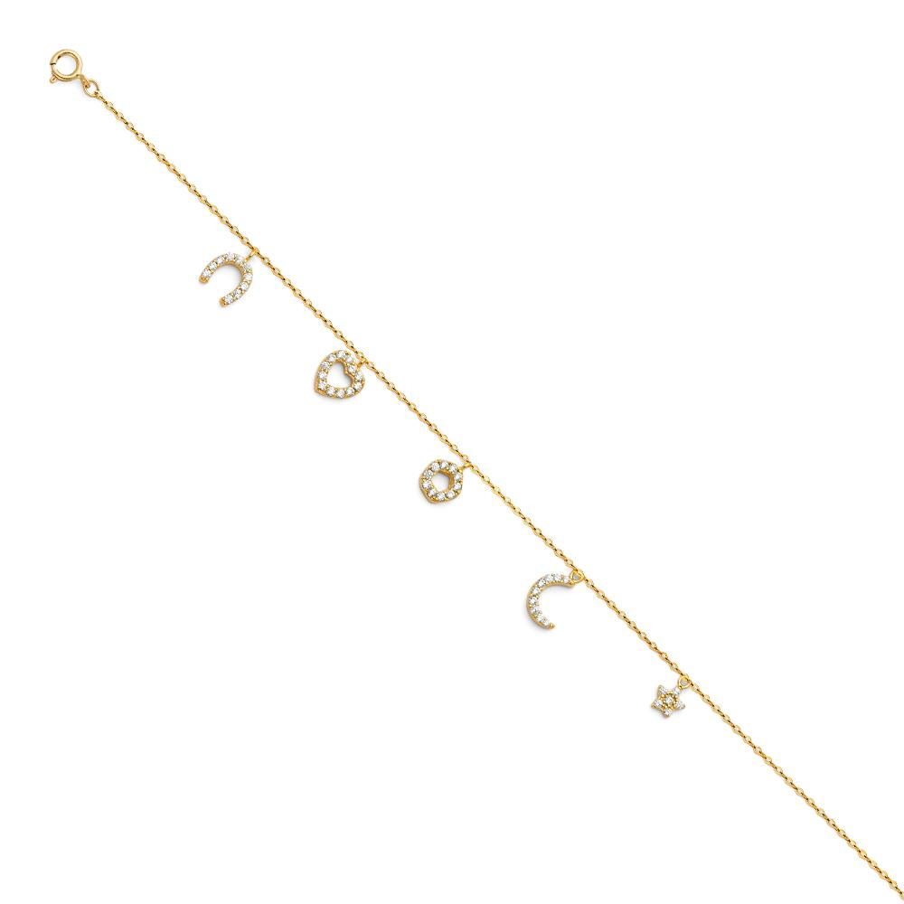 14KY LIGHT CZ CHAIN ANKLET