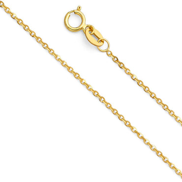 14KY 1.2MM SIDE CUT OVAL ROLO  CH-0232 CHAIN NECKLACE