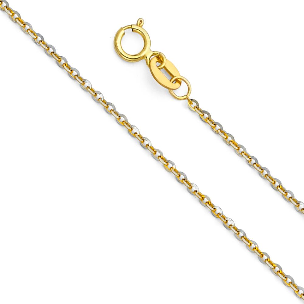 14K 1.4MM 2T SIDE CUT OVAL ROLO  CH-0233 CHAIN NECKLACE