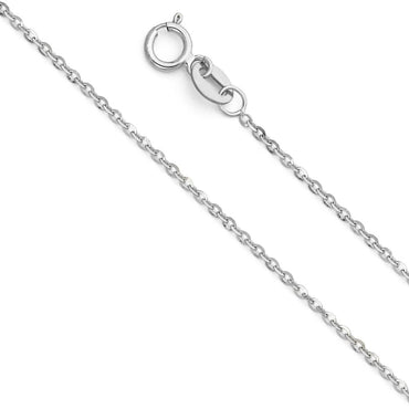 14KW 1.2MM SIDE CUT OVAL ROLO  CH-0235 CHAIN NECKLACE