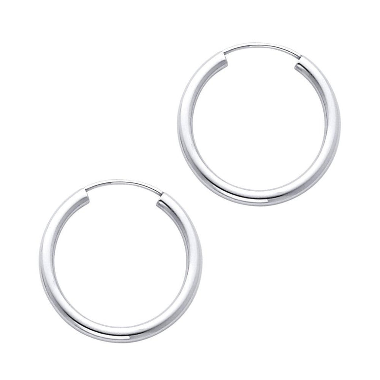 14KW 2MM RD TB POL ENDLESS HP (20MM) EARRINGS