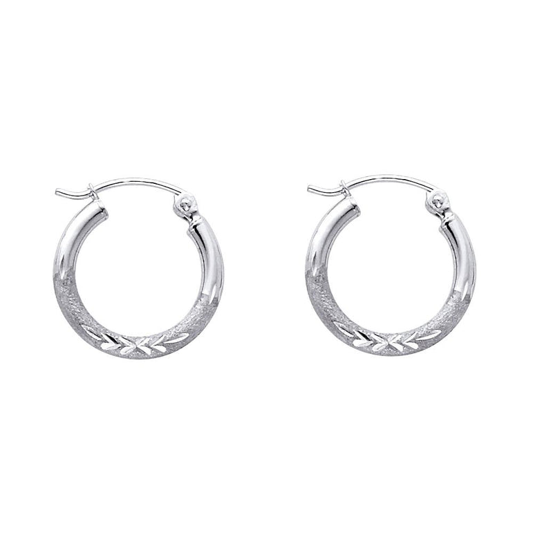 14KW 2MM BUD DC RD TUBE HOOP (15MM) EARRINGS