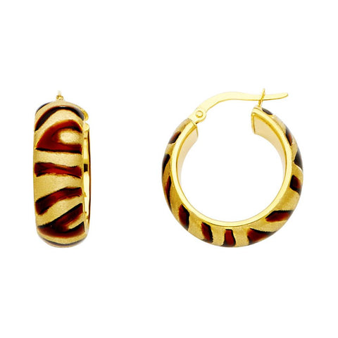 14KY BROWN ENAMEL HOL HOOP (20MM) EARRINGS