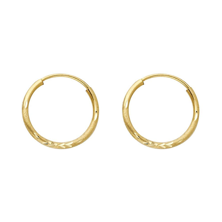 14KY BUD DC 1.5MM RD TUB HOOP (14MM) EARRINGS