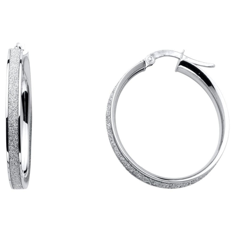 14K SPARK RD HOOPS (W, 25MM) EARRINGS