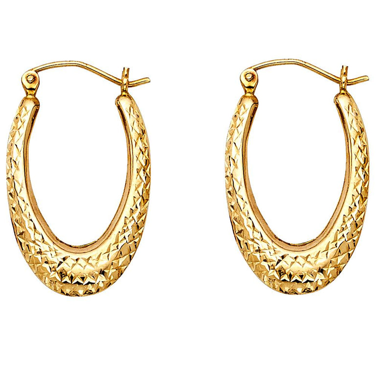 14KY TEAR DROP DC HOL HOOP EAR EARRINGS