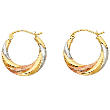 14K 3C FANCY HOLLOW HOOPS EARRINGS