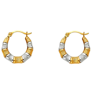 14K 2T FANCY HOLLOW HOOPS EARRINGS