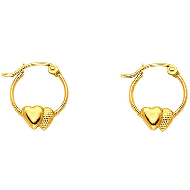 14KY 2 HEARTS HOOP EARRING EARRINGS