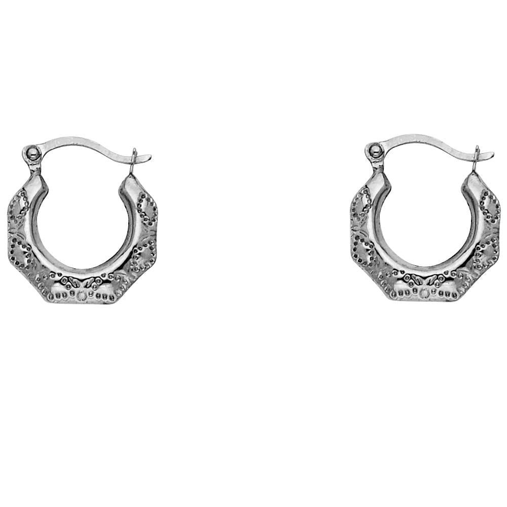 14KW FANCY HOLLOW HOOPS EARRINGS
