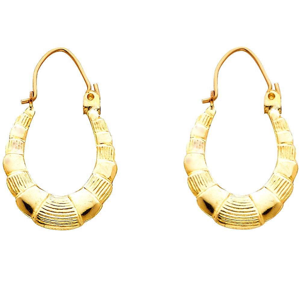 14KY FANCY HOLLOW HOOPS EARRINGS