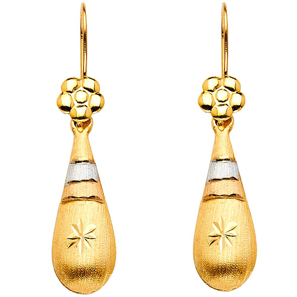 14K 3C HOL TEAR DROP HANGING EAR EARRINGS