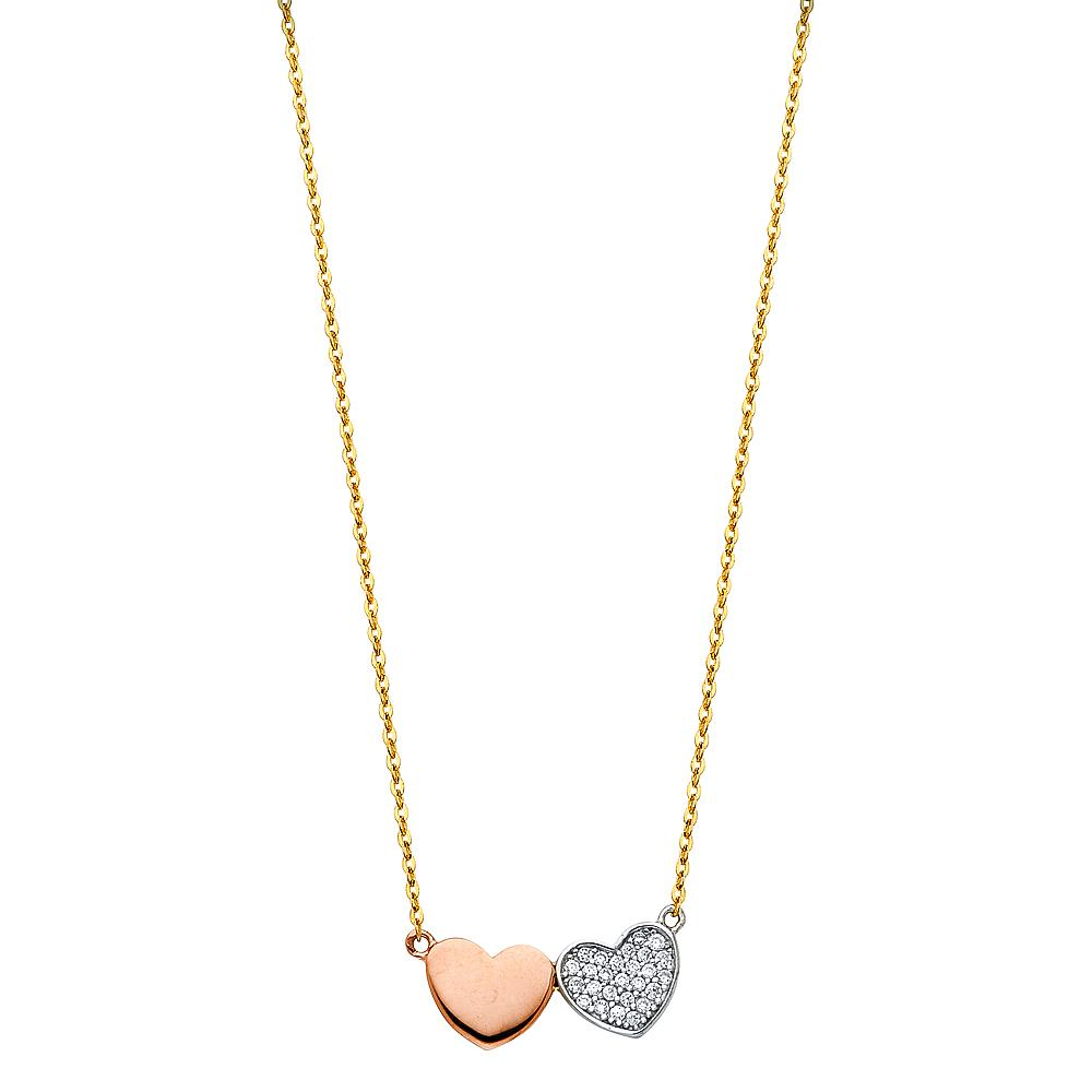14K TWO HEART CZ NECKLACE NK-0133 Womens Necklace