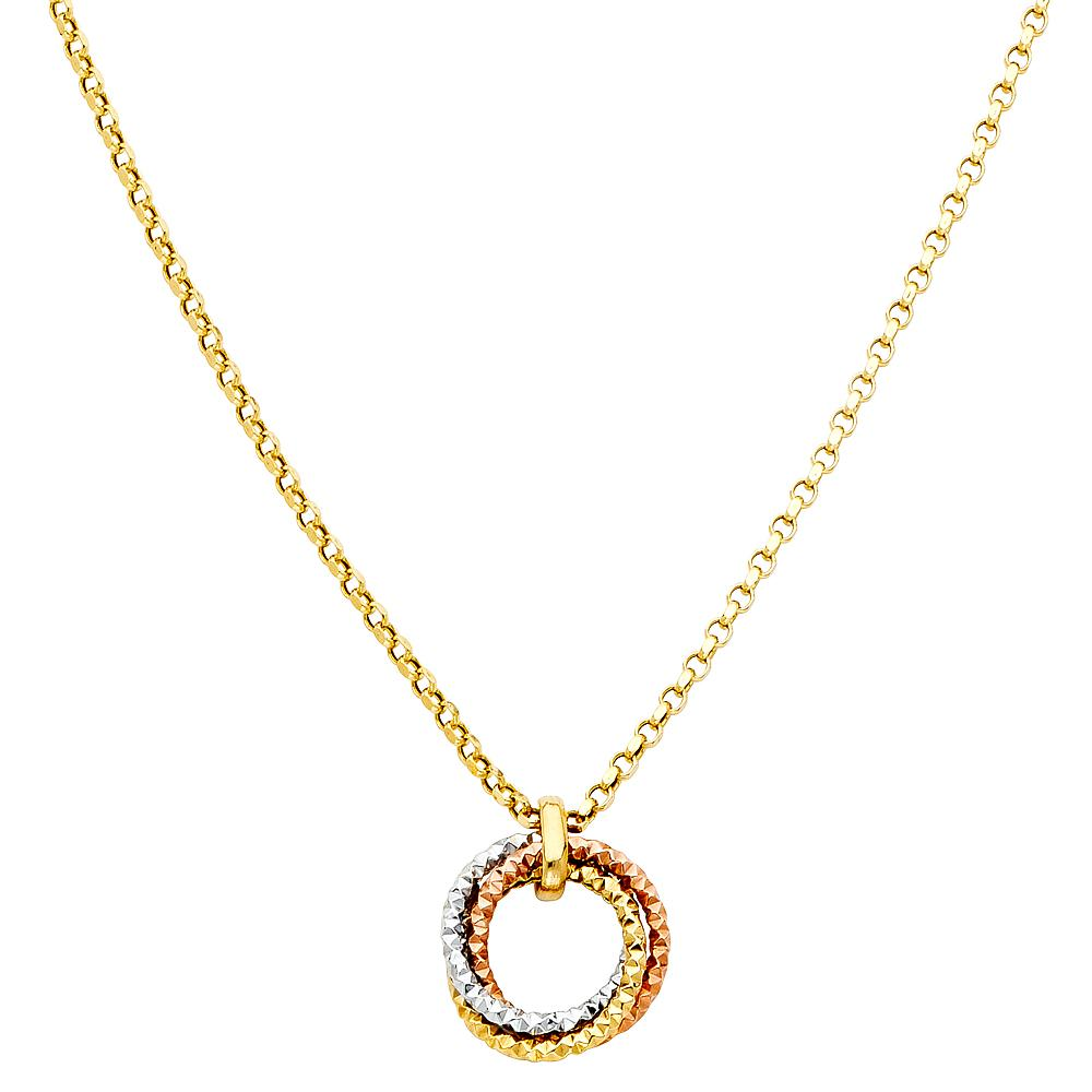 14K 3C ROUND HANGING NECKLACE NK-0140 Womens Necklace