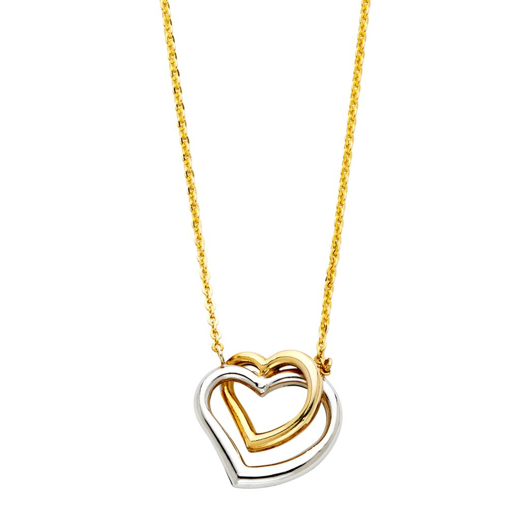 14K 2T DOUBLE HEART NECKLACE NK-0149 Womens Necklace