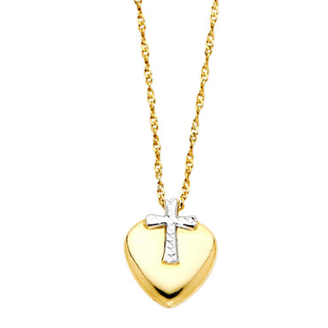 14K 2T CROSS HEART NECKLACE NK-0150 Womens Necklace