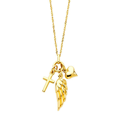 14KY CROSS+HEART+WING NECKLACE NK-0152 Womens Necklace