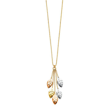 14K 3C LEAVES NECKLACE NK-0196 Womens Necklace