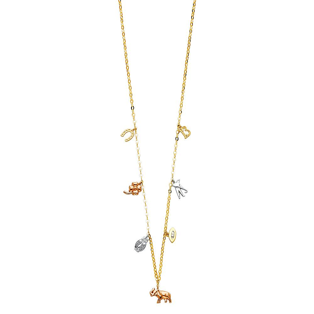 14K 3C LUCKY CHAIN NECKLACE NK-0197 Womens Necklace
