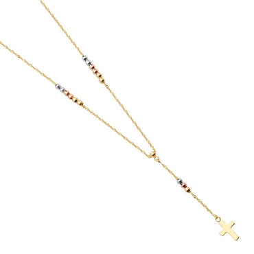 14K 3C 2.5MM BALL F-ROSARIO NECK NK-0199 Womens Necklace