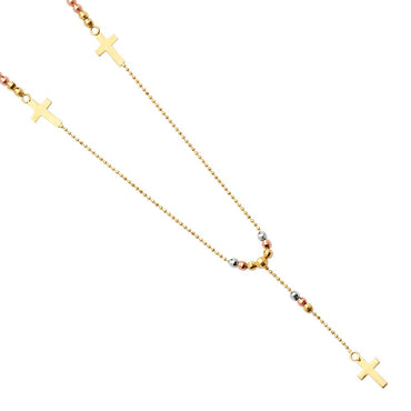 14K 3C 2.5MM BALL F-ROSARIO NECK NK-0200 Womens Necklace