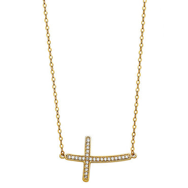 14KY CZ SIDE WAY CROSS NECKLACE NK-0201 Womens Necklace